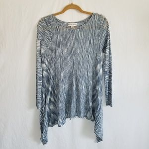 Knox Rose Long Sweater Tunic Blue Gray Sheer